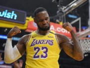 Los Angeles Lakers forward LeBron James was announced Saturday, Dec. 26, 2020, as the winner of The Associated Press' Male Athlete of the Year award for a record-tying fourth time. (AP Photo/Mark J.