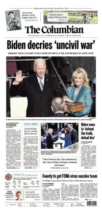 Thursday, Jan. 21st, 2021 The Columbian front page preview