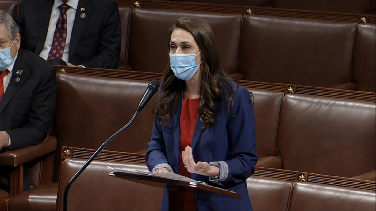 Rep. Jaime Herrera Beutler, R-Battle Ground, speaks as the House debates the objection to confirm the Electoral College vote from Pennsylvania, at the U.S. Capitol early Thursday.