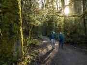 People along the Redmond Watershed Preserve on Saturday, Dec. 12, 2020.