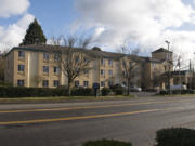 The Howard Johnson hotel on Vancouver Mall Drive pictured on Friday, Jan. 8, 2021. The Vancouver Housing Authority announced Friday that it is purchasing the hotel to turn it into a homeless shelter.