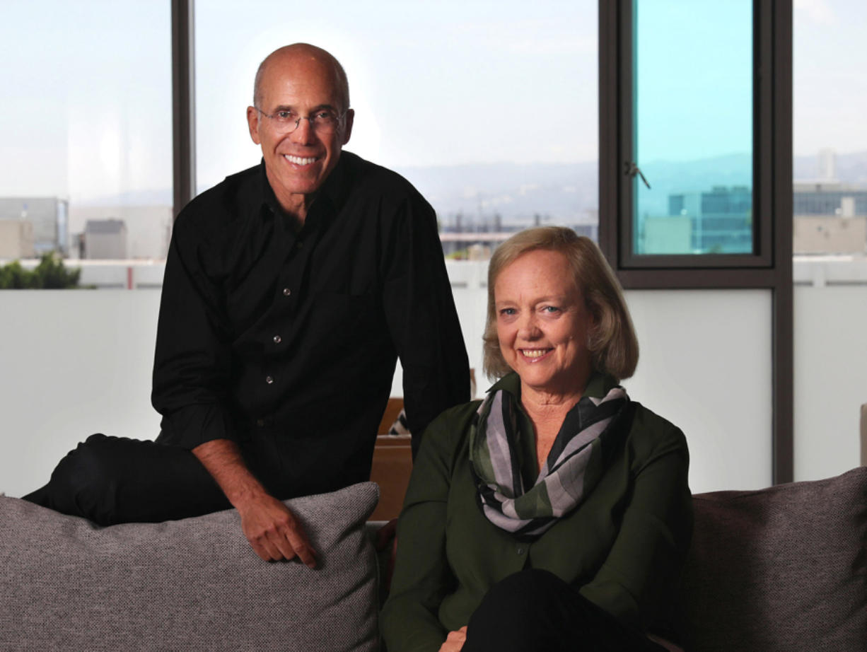 Jeffrey Katzenberg and Meg Whitman at their startup, Quibi, in Los Angeles on July 23, 2019.