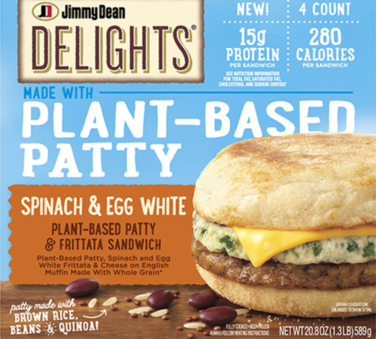 Tyson Foods' spinach frittata sandwich, which will launch in the spring, uses a patty made of soy protein, black beans, brown rice, quinoa, and egg white.