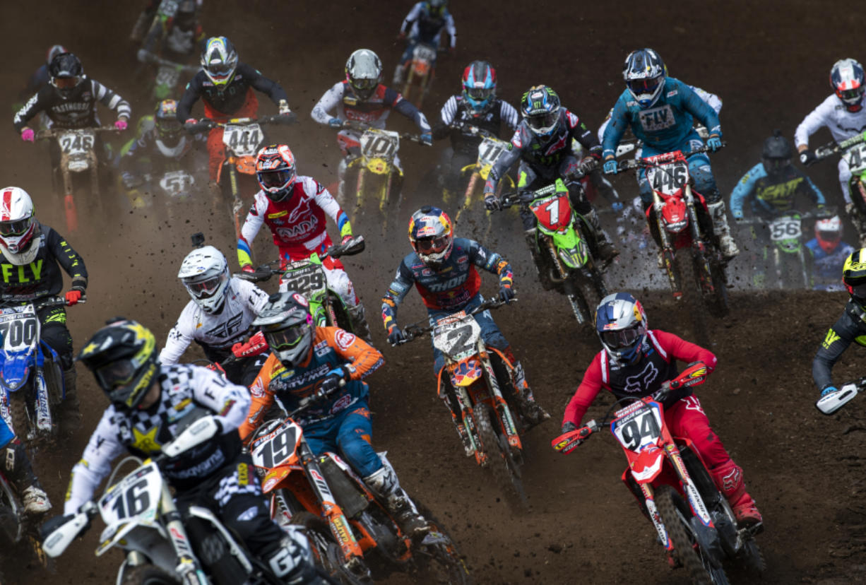Riders take off in the 450 Class Moto #2 during the Washougal National Lucas Oil Pro Motocross at the Washougal MX Park on Saturday afternoon, July 27, 2019.