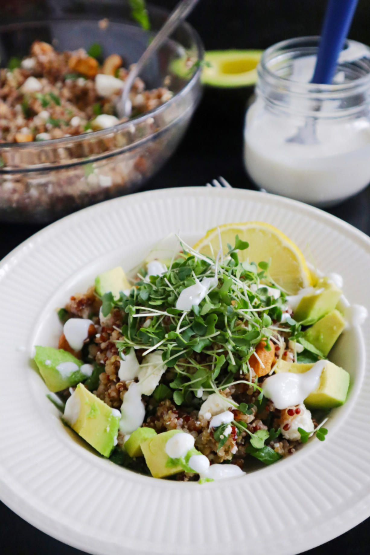 """Garnished with avocado and broccoli microgreens, this """"ancient"""" grain bowl is a snap to compose and makes a nutritious (and satisfying) breakfast, lunch, or dinner."""