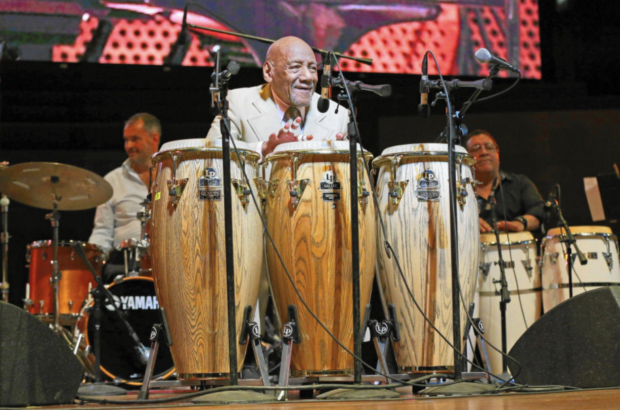 Candido Camero performs during the Chicago Jazz Festival at Pritzker Pavilion in 2016.