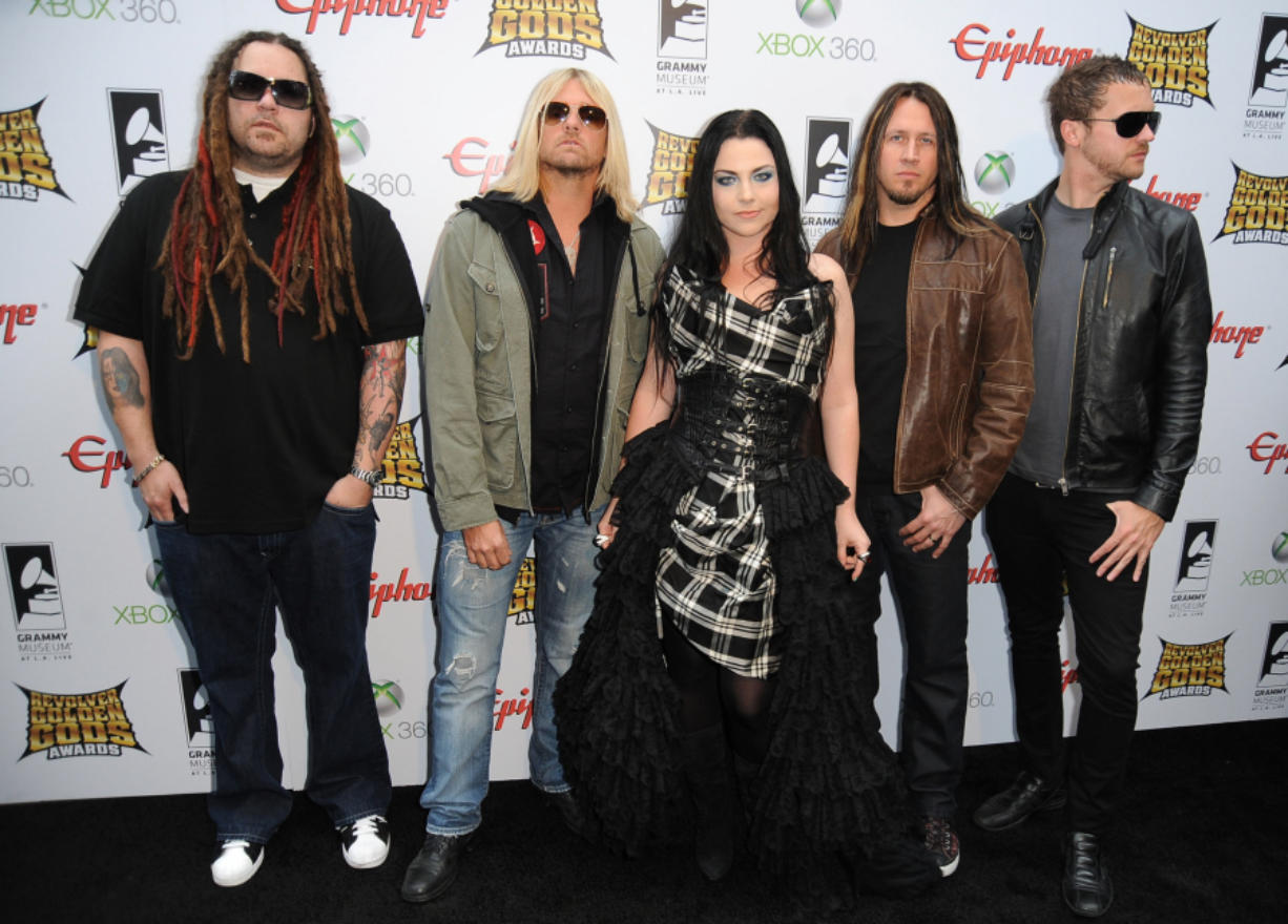 """Evanescence arrives at the 2012 Revolver Golden Gods Award Show at Club Nokia on April 11, 2012 in Los Angeles. This year Evanescence will release """"The Bitter Truth,"""" its first album of new material since 2011."""
