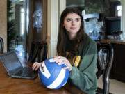 Ridgefield senior Alicia Andrew poses for a photo on Friday, January 8, 2021, at her home in Ridgefield. Andrew, a Baylor University volleyball signee, is part of the Ridgefield High NHS Student Health Committee, which is working to create a website that provides mental health resources for students.