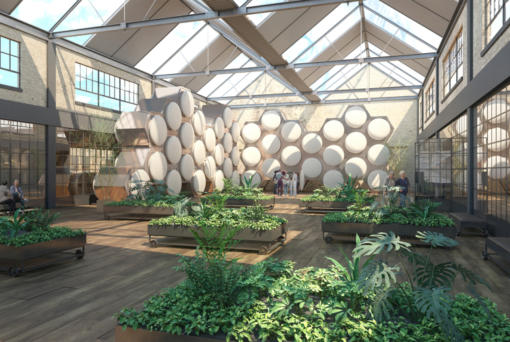 Washington is the first state to legalize human composting. This is a rendering of what a Recompose facility for human composting could look like.