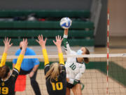 Portland State outside hitter Zoe McBride goes for a kill in a match against Idaho on Jan. 24 in Portland. McBride, who was 3A state player of the year at Prairie High School, transfered to Portland State after two successful seasons at Morgan State in Maryland.