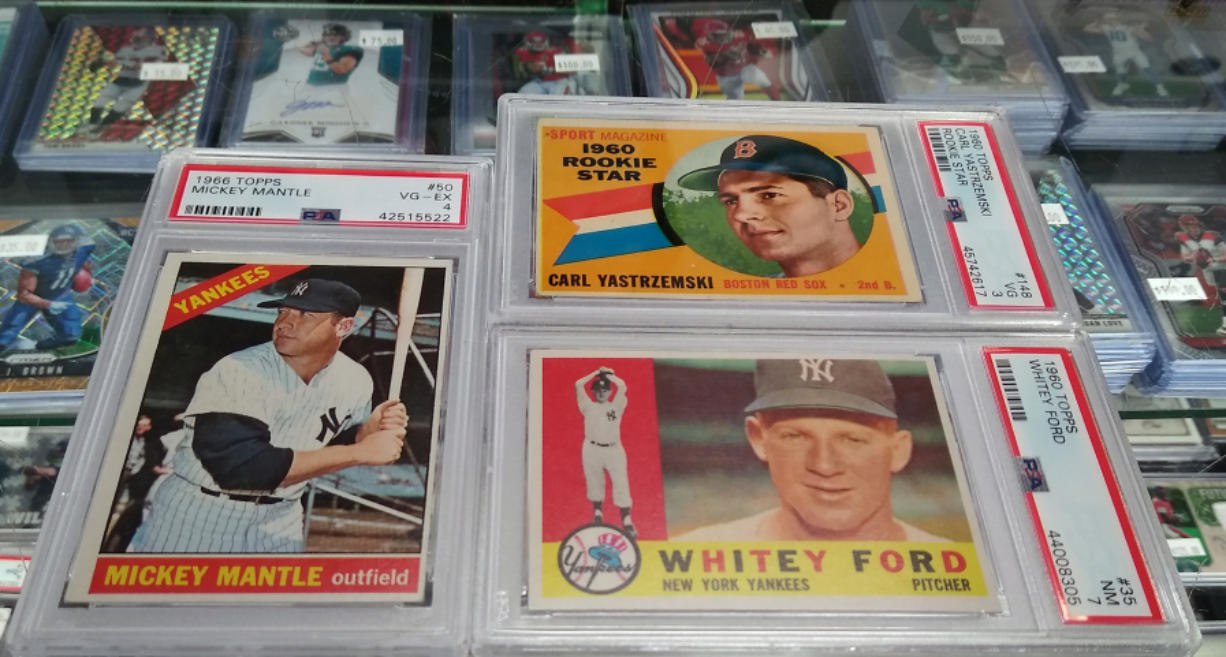 Baseball cards of Hall of Famers such as Mickey Mantle, Carl Yastrzemski, and Whitey Ford can be worth a lot depending on condition, significance, and — in the case of Ford — sudden demand by collectors because of a recent death. Super Sports Cards on Andresen Road in Vancouver has a vast card inventory that's sure to get collectors excited.
