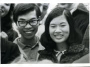 Tim and Cathy Tran watch a pie-eating contest in 1971 while studying at Pacific University in Forest Grove, Ore.
