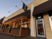 Dediko's outdoor dining patio sits along Columbia Street in downtown Vancouver.