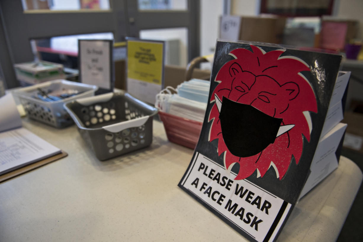 Students, staff and visitors at Liberty Middle School in Camas are asked to wear a mask, as seen on Wednesday afternoon.