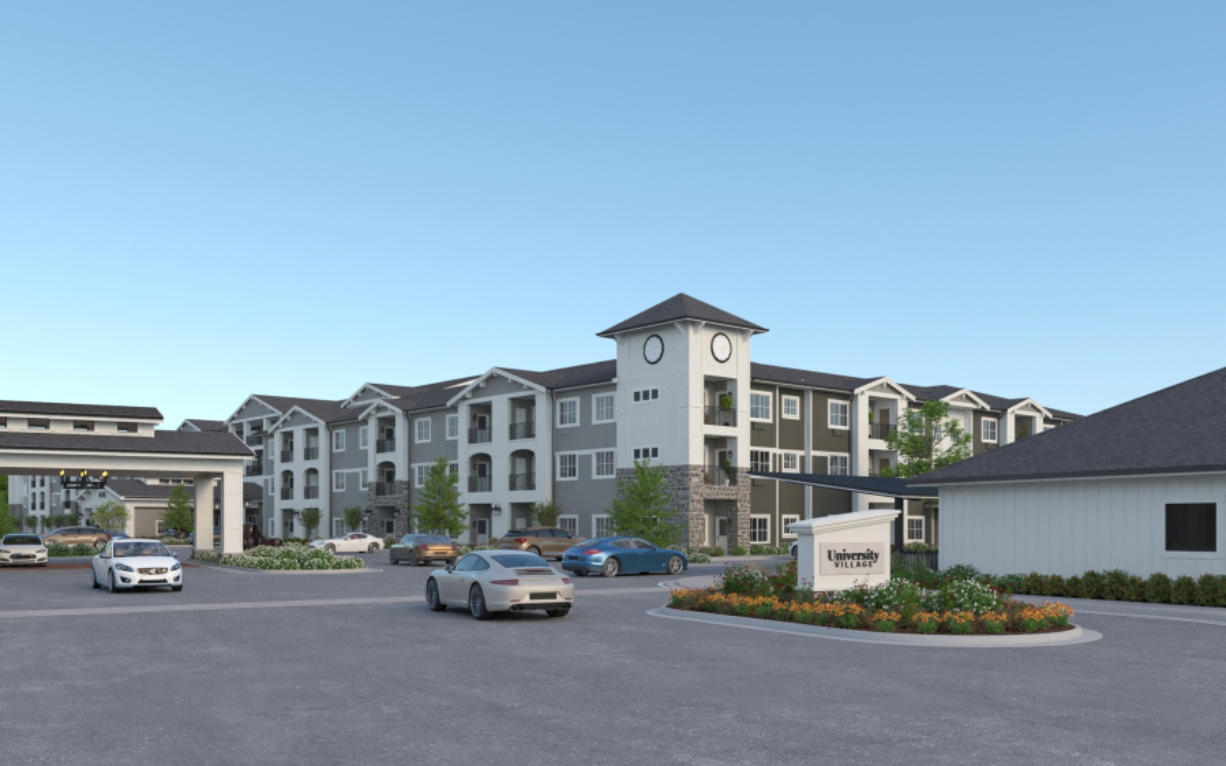 Concept art from Koelsch Communities shows the planned design of a new senior living facility in Salmon Creek called University Village. The $108 million project broke ground in January and is targeted  to open 2022.