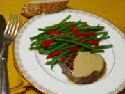 Beef tenderloin in cognac sauce with French green beans.