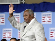 Hall of Famer Hank Aaron at the 2013 Baseball Hall of Fame induction ceremonies in Cooperstown, N.Y. Aaron died early Friday, Jan. 22, 2021. He was 86. The Atlanta Braves said Aaron died peacefully in his sleep. No cause of death was given.