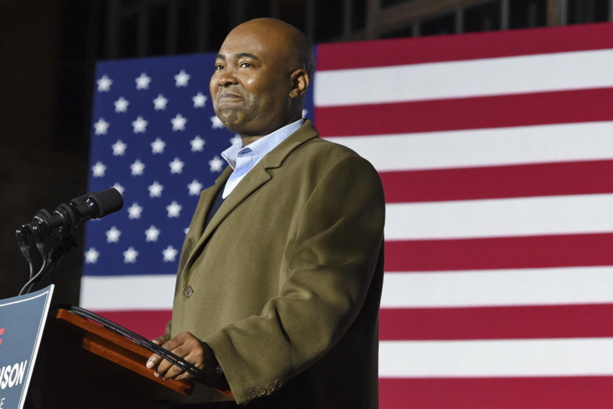 FILE - In this Nov. 3, 2020, file photo Democratic Senate candidate Jaime Harrison speaks at a watch party in Columbia, S.C., after losing the Senate race. Harrison, the longtime Democratic Party official, is President-elect Joe Biden's choice to lead the national party, according to multiple party officials.