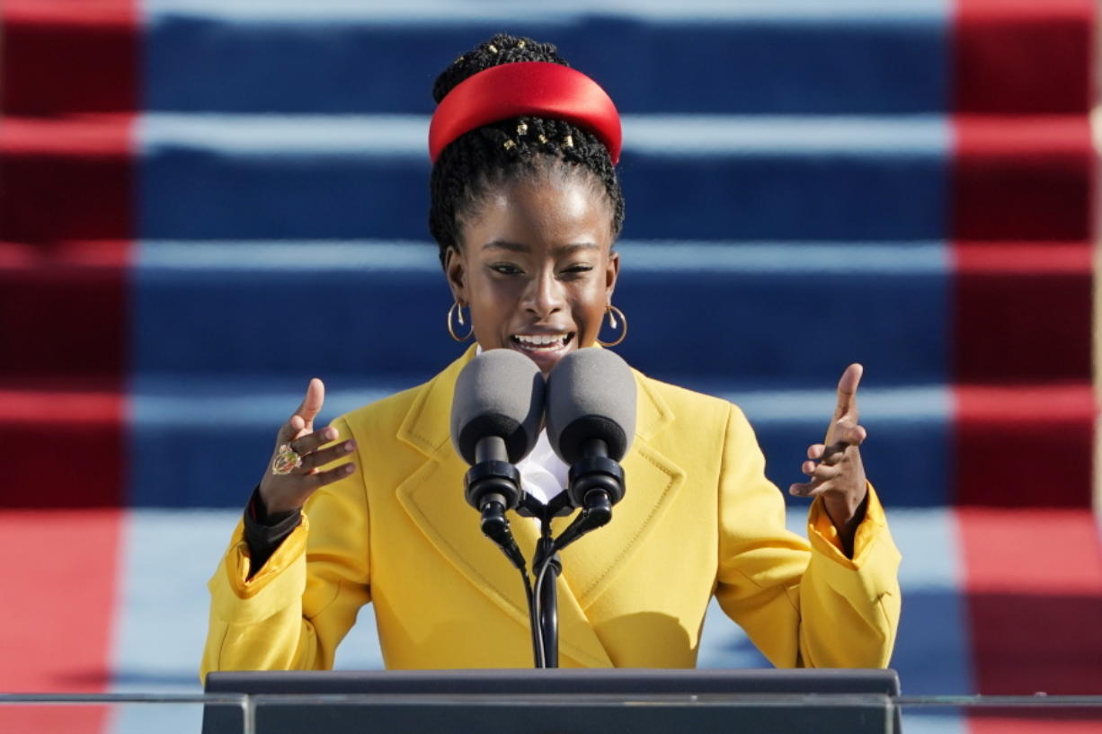 Poet Amanda Gorman reads a poem Wednesday during the 59th Presidential Inauguration at the U.S. Capitol in Washington.