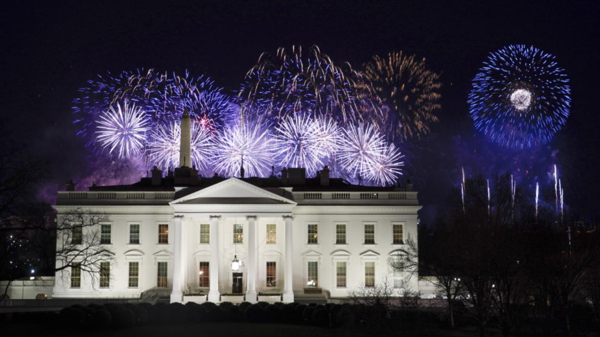 Fireworks are displayed over the White House as part of Inauguration Day ceremonies for President Joe Biden and Vice President Kamala Harris, Wednesday, Jan. 20, 2021, in Washington. (AP Photo/David J.