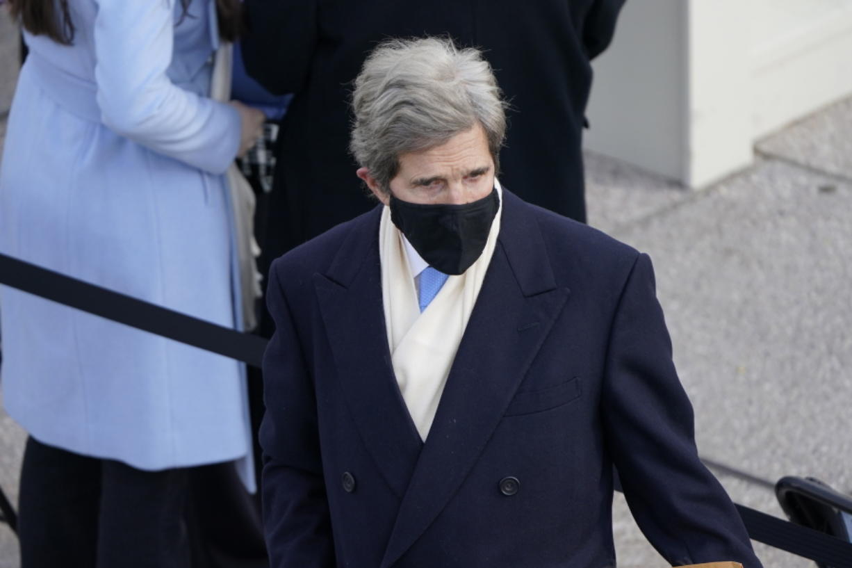 Former Secretary of State John Kerry arrives for the 59th Presidential Inauguration at the U.S. Capitol in Washington, Wednesday, Jan. 20, 2021.