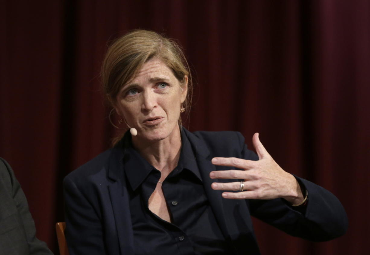 FILE - In this Oct. 16, 2017 file photo, Harvard professor Samantha Power, former U.S. Ambassador to the United Nations, addresses an audience at a forum on the campus of Harvard University, in Cambridge, Mass. President-elect Joe Biden has selected Samantha Power, the U.S. ambassador to the United Nations under President Barack Obama, to run the U.S. Agency for International Development.