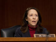 Sen. Maria Cantwell, D-Wash., speaks during a Senate Finance Committee hearing to examine the expected nomination of Janet Yellen to be Secretary of the Treasury on Capitol Hill in Washington, Tuesday, Jan. 19, 2021.