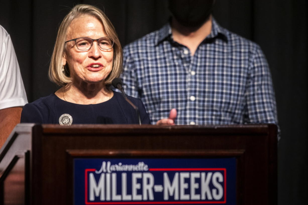 Republican state Sen. Mariannette Miller-Meeks speaks to reporters during an election night watch party, early Wednesday, Nov. 4, 2020, in Riverside, Iowa. Miller-Meeks is running for the seat in the state's 2nd Congressional District.