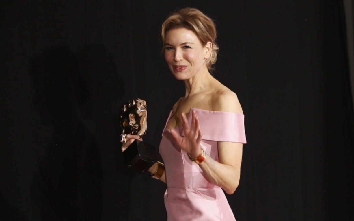 "Renee Zellweger, winner of Best Actress for ""Judy,"" walks backstage at the Bafta Film Awards, in London on Feb. 2, 2020."