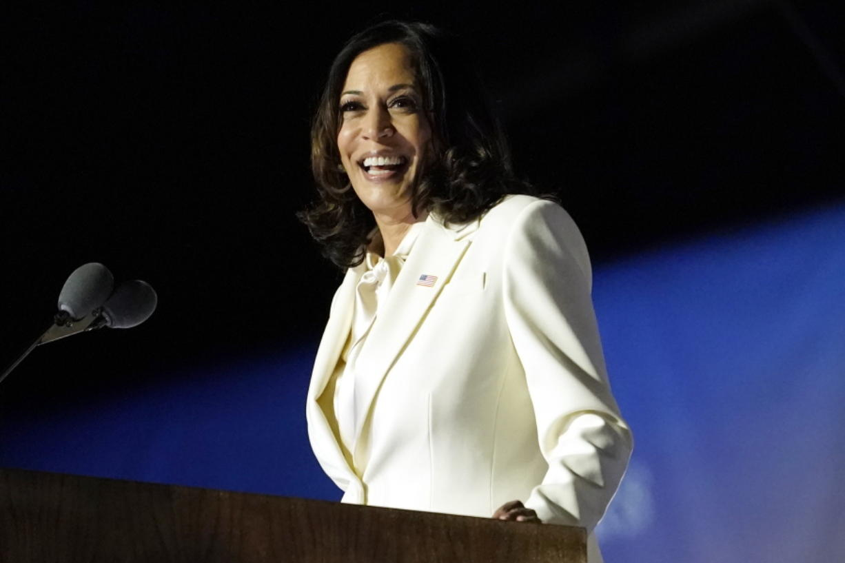 FIL - In this Nov. 7, 2020, file photo Vice President-elect Kamala Harris speaks in Wilmington, Del. Harris will make history Wednesday, Jan. 20, 2021, when she becomes the nation's first Black, South Asian and female vice president.