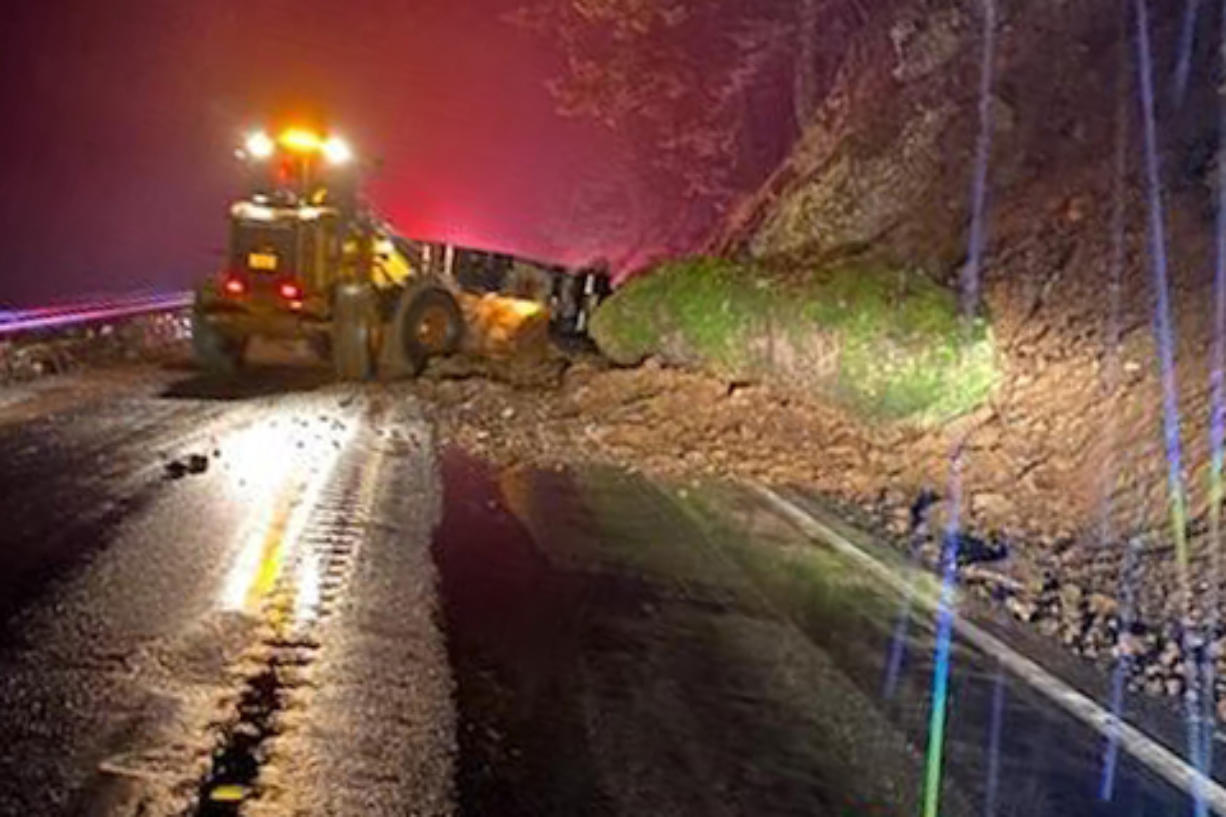 Highway 14 is closed east of Washougal because of a landslide.