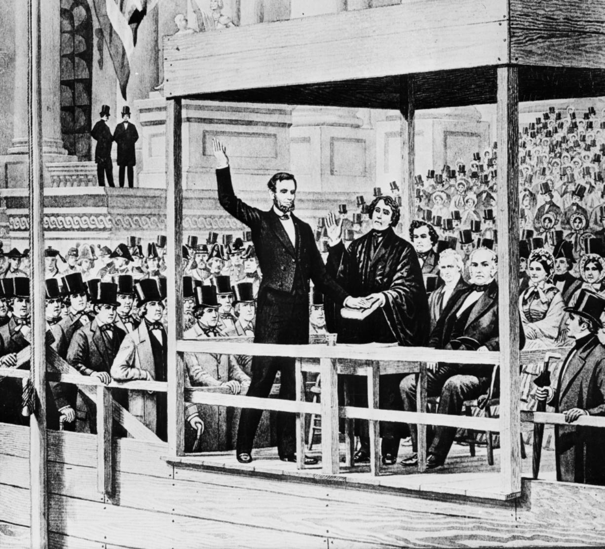 """FILE - This images shows a depiction of Abraham Lincoln taking the oath of office as the 16th president of the United States administered by Chief Justice Roger B. Taney in front of the U.S. Capitol in Washington, on March 4, 1861. Historians cite the first inaugural speeches of Thomas Jefferson and Abraham Lincoln as possible parallels for Joe Biden, who has said his goal is to """"restore the soul"""" of the country even as millions baselessly insist incumbent Donald Trump was the winner."""