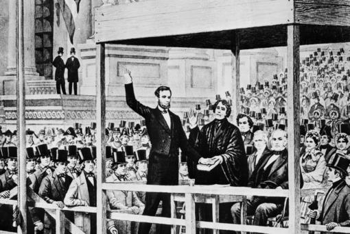 "FILE - This images shows a depiction of Abraham Lincoln taking the oath of office as the 16th president of the United States administered by Chief Justice Roger B. Taney in front of the U.S. Capitol in Washington, on March 4, 1861. Historians cite the first inaugural speeches of Thomas Jefferson and Abraham Lincoln as possible parallels for Joe Biden, who has said his goal is to ""restore the soul"" of the country even as millions baselessly insist incumbent Donald Trump was the winner."