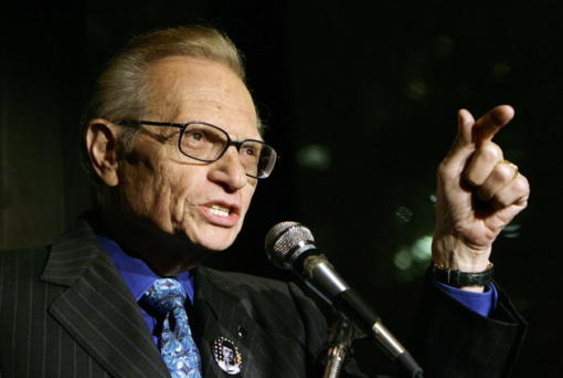 FILE - In this April 18, 2007 file photo, Larry King speaks to guests at a party held by CNN, celebrating King's fifty years of broadcasting in New York.  King, who interviewed presidents, movie stars and ordinary Joes during a half-century in broadcasting, has died at age 87. Ora Media, the studio and network he co-founded, tweeted that King died Saturday, Jan. 23, 2021 morning at Cedars-Sinai Medical Center in Los Angeles.