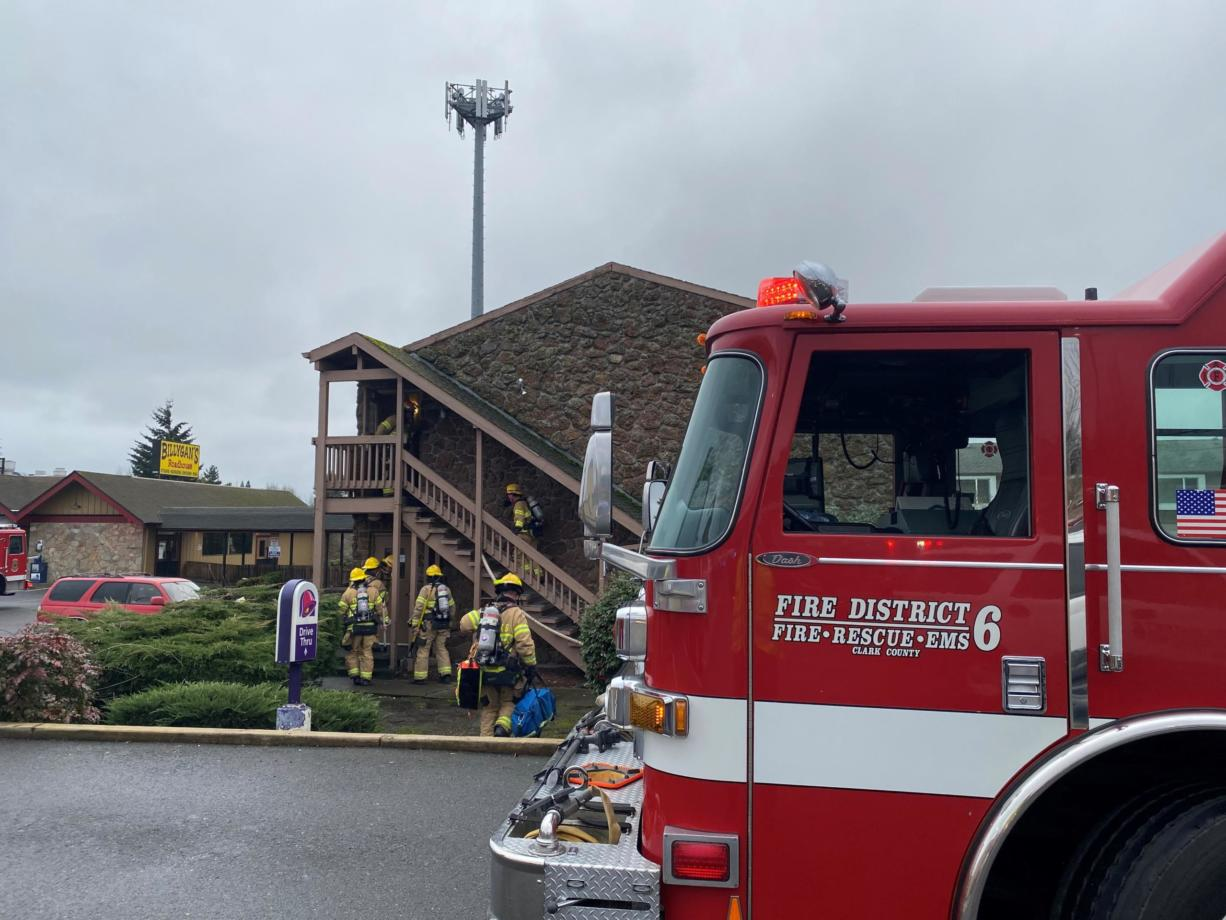 Firefighters quickly extinguished a blaze Monday morning in Salmon Creek. Clark County Fire District 6 crews were initially dispatched for a medical call at 10:47 a.m. to Red Lion & Suites Vancouver, 13206 N.E. Highway 99. They found a working fire on the second story of the motel.
