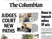 The front page of The Columbian's Monday e-edition.