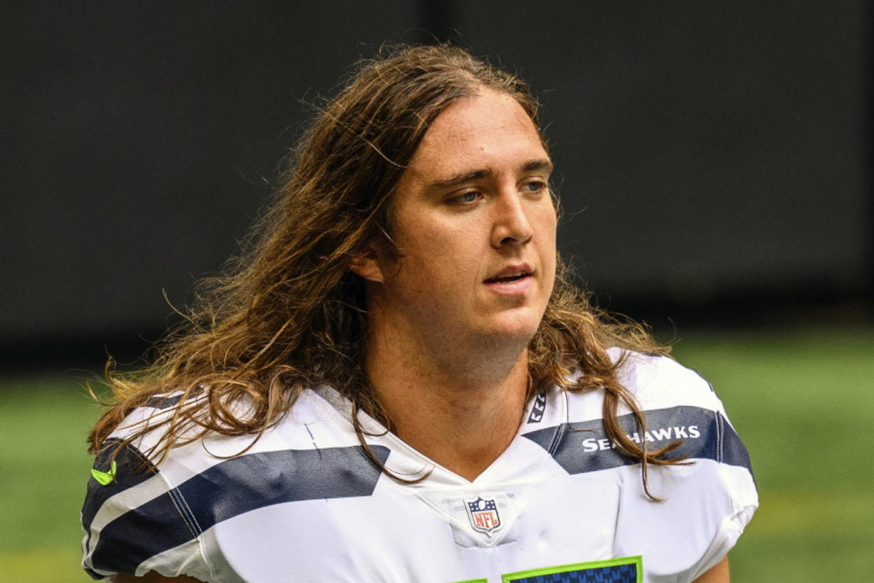 Seahawks offensive tackle Chad Wheeler (75) is no longer a member of the team following his arrest last weekend for domestic violence.