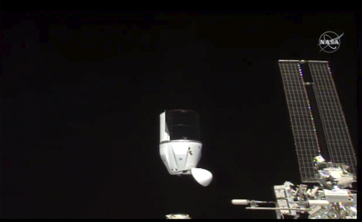 This photo provided by NASA shows SpaceX's Dragon undocking from International Space Station on Tuesday, Jan. 12, 2021.  SpaceX's Dragon cargo capsule undocked with 12 bottles of Bordeaux wine and hundreds of snippets of Merlot and Cabernet Sauvignon vines. The capsule is aiming for a splashdown in the Gulf of Mexico off the Florida coast Wednesday night.
