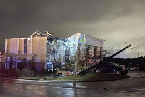 A Hampton Inn hotel is severely damaged after a tornado tore through Fultondale, Ala., on Monday, Jan. 25, 2021.
