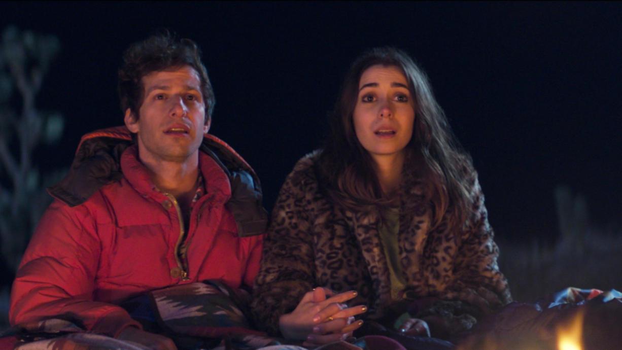 "Nyles (Andy Samberg) and Sarah (Cristin Milioti) in ""Palm Springs."" (Hulu)"