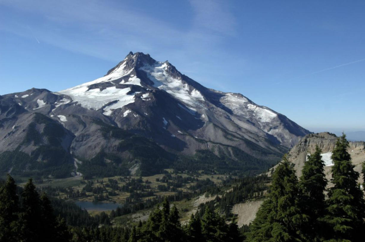Mount Jefferson in central Oregon with Jefferson Park in the foreground.