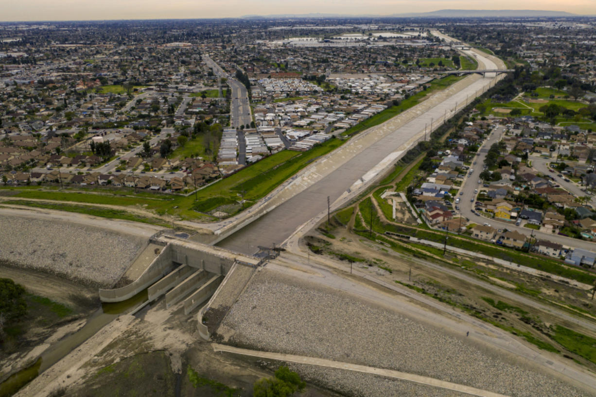 An aerial view of the Whittier Narrows Dam in the area between Montebello and Pico Rivera in Montebello, California on February 12, 2019. A top federal priority in Southern California is spending an estimated $600 million to upgrade the 62-year-old Whittier Narrows Dam.