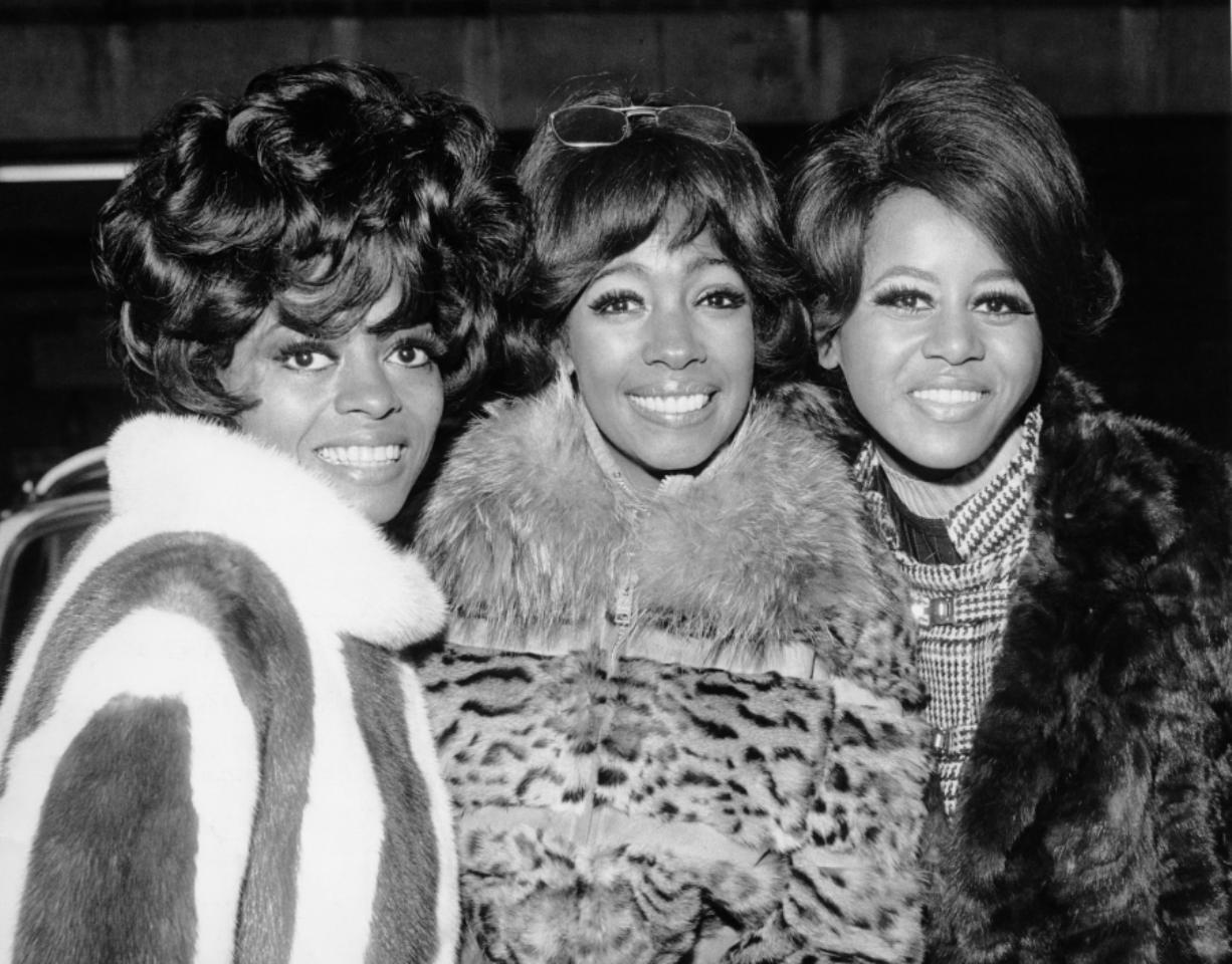 The Supremes, from left, Diana Ross, Mary Wilson, and Cindy Birdsong, attend a reception in their honor Jan. 23, 1968, in EMI House, London.