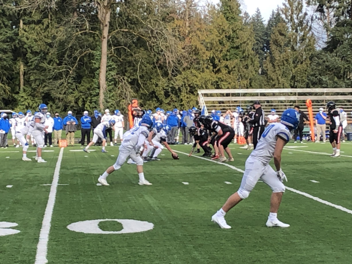 Football was back in action on Sturday, Feb. 20, 2021, as La Center (in white) takes on Fort Vancouver at Kiggins Bowl.