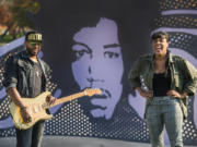 Seattle rockers Ayron Jones, left, and Eva Walker of The Black Tones, shown here at Jimi Hendrix Park in Seattle last year, both have support from Seattle musical heavy hitters.