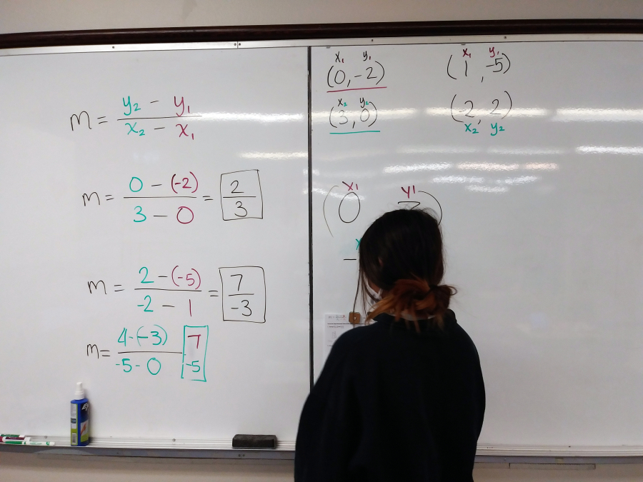 A student looks over math problems on the whiteboard at the Learning Support Center, which is part of the Family Promise of Clark County's FP Cares Educational Services that launched in November.