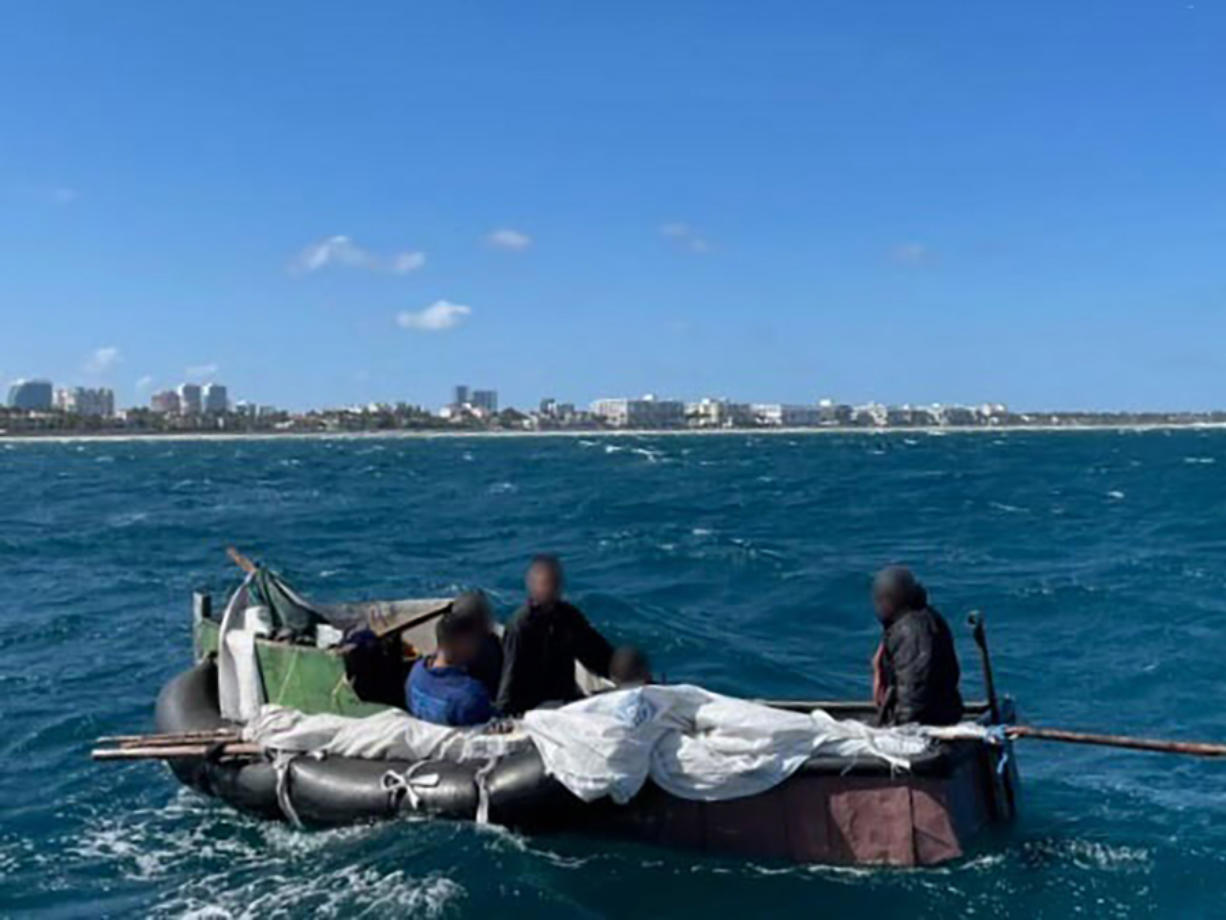 Station Lake Worth Inlet, off the coast of Florida, rescued five males aboard a small man-made raft, due to safety of life at sea concerns, two miles southeast of Lake Worth Inlet. The men stated they had been at sea for 16 days since leaving Cuba. (U.S.