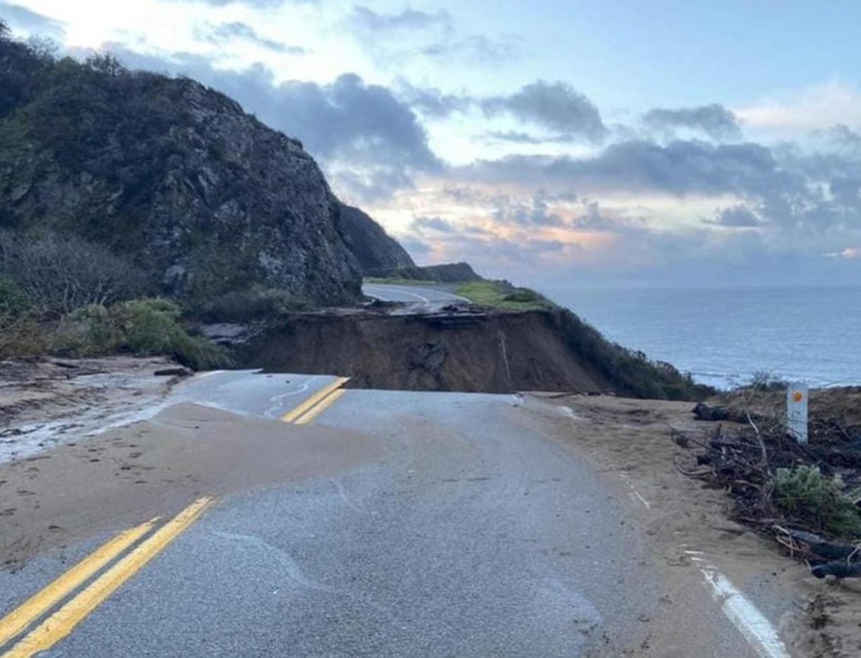 This is what Highway 1 at Rat Creek looked like after a slide washed out 150 feet of roadway in January. Travelers on a coastal road trip will have to take a detour for the next several months.