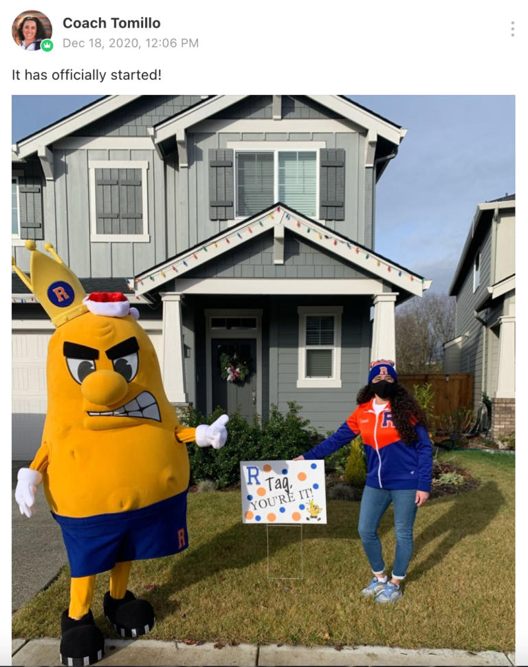RIDGEFIELD: The Spudder mascot came to help with the first yard signs.