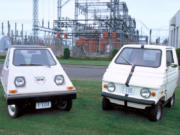 The Bonneville Power Administration purchased two electric vehicles -- a Citicar, left, and an Elcar -- in 1975 to test whether they would be an energy-efficient way to get around the Ross Complex.